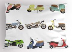 Rengarenk Motosikletler Yastık Kılıfı Şık Beyaz Fon