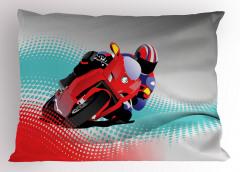 Motosiklet Yarışı Yastık Kılıfı Kırmızı Gri