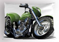 Yeşil Motosiklet Yastık Kılıfı Beyaz Fon Dekoratif