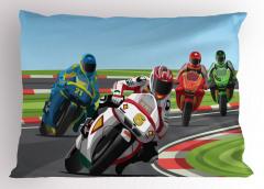 Motor Yarışı Desenli Yastık Kılıfı Rengarenk Dekoratif