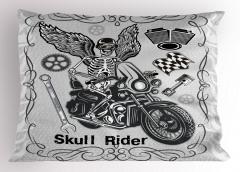 Motorcu Kuru Kafa Yastık Kılıfı Gri Dekoratif