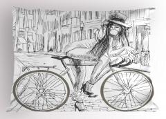 Bisikletli Kız Yastık Kılıfı Siyah Beyaz Nostaljik
