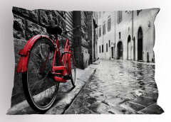 Kırmızı Bisiklet Desenli Yastık Kılıfı Gri Yol