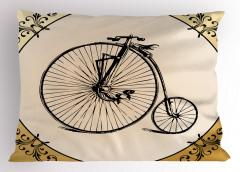 Nostaljik Bisiklet Yastık Kılıfı Şık Tasarım Siyah