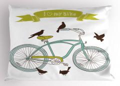 Bisiklet ve Kuşlar Yastık Kılıfı Yeşil Dekoratif
