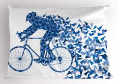 Bisiklet ve Bisikletli Yastık Kılıfı Mavi Geometrik