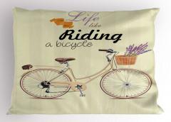 Çiçekli Bisiklet Yastık Kılıfı Krem Dekoratif