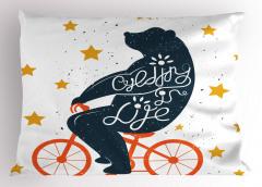 Turuncu Bisikletli Ayı Yastık Kılıfı Yıldız Dekoratif