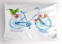 Mavi Bisiklet Desenli Yastık Kılıfı Çiçekli Dekoratif