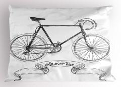 Siyah Bisiklet Desenli Yastık Kılıfı Nostaljik Şık