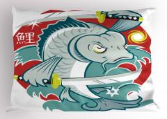 Samuray Balık Desenli Yastık Kılıfı Mavi Dekoratif