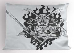 Nostaljik Samuray Yastık Kılıfı İki Kılıçlı Dekoratif