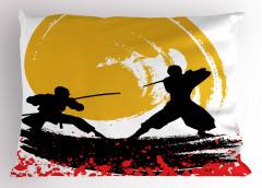Ninja Desenli Yastık Kılıfı Sarı Siyah Kırmızı Savaşçı