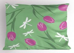 Lale ve Yusufçuk Yastık Kılıfı Laleler Yusufçuk Yeşil