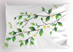 Yaprak ve Çiçek Desenli Yastık Kılıfı Bahar Zamanı Yusufçuk