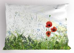 Gelincik Çiçeği Desenli Yastık Kılıfı Yusufçuk Bahar
