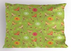 Çan Çiçeği Desenli Yastık Kılıfı Bahar Yeşil Turuncu