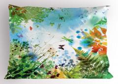 Kelebek ve Yaprak Yastık Kılıfı İlkbahar Doğa Yeşil