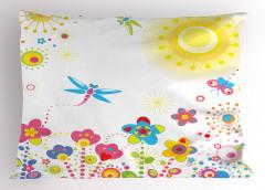Yusufçuk ve Çiçek Yastık Kılıfı Yusufçuk Güneş Çiçekler