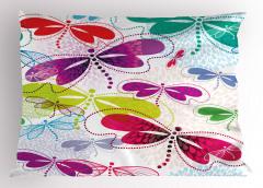 Rengarenk Yusufçuk Yastık Kılıfı Çiçekler Yusufçuk