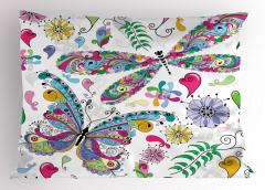 Rengarenk Kelebek Yastık Kılıfı Çiçekler Kalpler