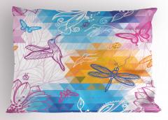 Renkli Kuşlar Çiçekler Yastık Kılıfı Rengarenk Kuşlar Çiçekler