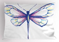 Pastel Yusufçuk Desenli Yastık Kılıfı Pastel Renkler Şık Beyaz