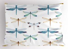 Şık Yusufçuk Desenli Yastık Kılıfı Trend Şık Tasarım Beyaz