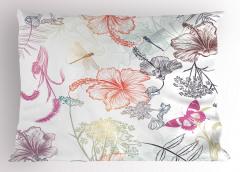 Çiçek ve Kelebek Yastık Kılıfı Çiçekler Kelebekler Turuncu