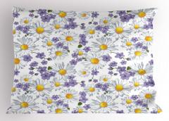 Bahar Çiçekleri Desenli Yastık Kılıfı Beyaz Papatya Mor Çiçek