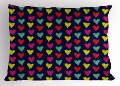 Rengarenk Kalp Desenli Yastık Kılıfı Siyah Kırmızı Sarı