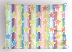 Rengarenk Yıldız Yastık Kılıfı Çizgili Trend