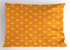 Yıldız Desenli Yastık Kılıfı Turuncu Sarı Şık Tasarım