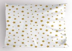 Altın Yıldızlı Yastık Kılıfı Beyaz Trend Çeyizlik