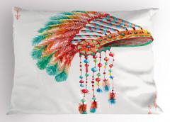 Kızılderili Temalı Yastık Kılıfı Rengarenk Etnik Tüy