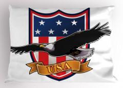 Kartal Desenli Yastık Kılıfı ABD Bayrak Kırmızı Siyah