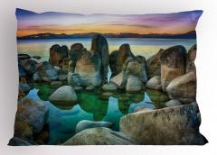Kayalı Göl Yastık Kılıfı Doğal Cennet Mavi