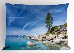 Göl Kıyısı Yastık Kılıfı Kayalıklar Mavi