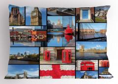 İngiltere Temalı Yastık Kılıfı Mavi Londra Gökyüzü