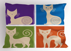 Sevimli Rengarenk Kedi Yastık Kılıfı Sevimli Kedi Rengarenk