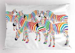 Sevimli Zebra Yastık Kılıfı Rengarenk Sevimli Zebra