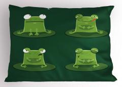 Sevimli Yeşil Kurbağa Yastık Kılıfı Sevimli Yeşil Kurbağa