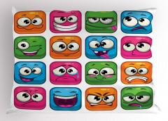 Rengarenk Emojiler Yastık Kılıfı Rengarenk Emoji Mavi Pembe