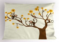 Ağaçtaki Maymun Yastık Kılıfı Kahverengi Ağaç Maymun