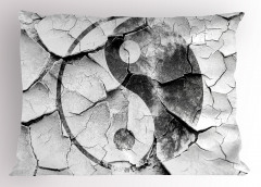 Yin Yang Desenli Yastık Kılıfı Siyah Beyaz Nostaljik