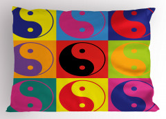 Rengarenk Yin Yang Yastık Kılıfı Dekoratif