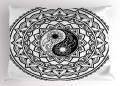 Yin Yang ve Daire Şal Yastık Kılıfı Dekoratif
