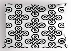 Kelt Geometrik Düğüm Yastık Kılıfı Siyah Beyaz