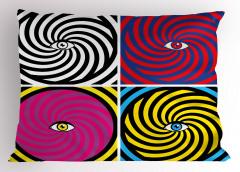 Rengarenk Girdap ve Göz Yastık Kılıfı Modern