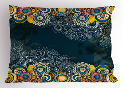 Renkli Şal Tarzı Çiçek Yastık Kılıfı Mavi
